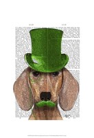 Dachshund With Green Top Hat and Moustache Fine Art Print