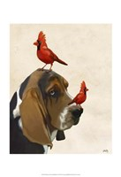 Basset Hound and Birds II Framed Print