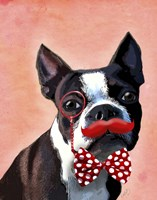 Boston Terrier Portrait with Red Bow Tie and Moustache Fine Art Print