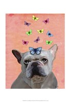 White French Bulldog and Butterflies Fine Art Print
