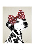 Dalmatian With Red Bow Framed Print