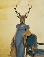 Deer In Blue Dress Framed Print