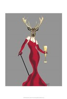 Glamour Deer in Red Framed Print