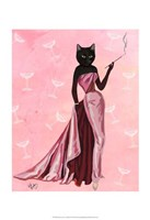 Glamour Cat in Pink Framed Print
