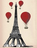 Eiffel Tower and Red Hot Air Balloons Framed Print
