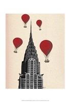 Chrysler Building and Red Hot Air Balloons Framed Print