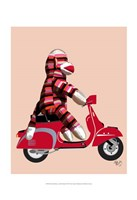 Sock Monkey on Red Moped Framed Print
