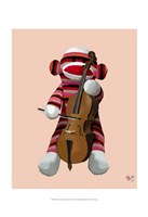 Sock Monkey and Cello Framed Print