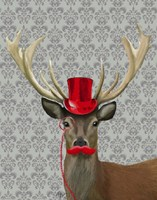 Deer With Red Hat and Moustache Fine Art Print