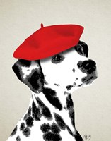 Dalmatian With Red Beret Framed Print