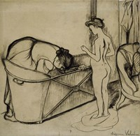 Woman Cleaning a Tub and a Nude, 1908 Fine Art Print
