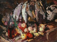 Still Life with Fish, Wine, and Fruit Fine Art Print