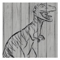 Dino On Wood I Fine Art Print