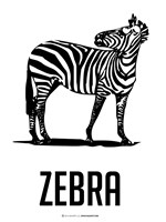 Zebra Black Framed Print