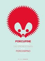 Red Porcupine Multilingual Framed Print