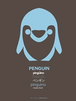Blue Pinguin Multilingual Framed Print