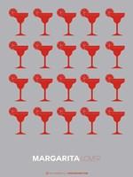 Red Margaritas Grey Fine Art Print