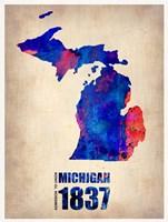 Michigan Watercolor Map Fine Art Print