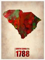 South Carolina Watercolor Map Fine Art Print