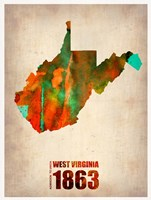 West Virginia Watercolor Map Fine Art Print