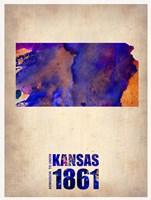 Kansas Watercolor Map Fine Art Print