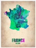 France Watercolor Map Fine Art Print