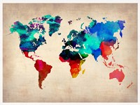 World Watercolor Map 1 Framed Print
