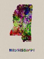 Mississippi Color Splatter Map Fine Art Print