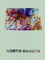 North Dakota Color Splatter Map Fine Art Print