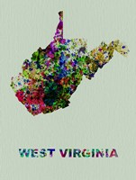 West Virginia Color Splatter Map Fine Art Print
