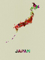 Japan Color Splatter Map Fine Art Print