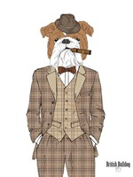 British Bulldog In Tweed Suit Fine Art Print