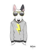 Bull Terrier in City Style Fine Art Print