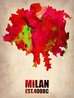 Milan Watercolor Map Fine Art Print