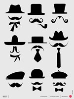 Hats and Mustaches 1 Fine Art Print