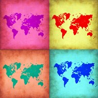 Pop Art World Map 1 Fine Art Print