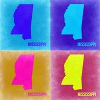 Mississippi Pop Art Map 2 Fine Art Print