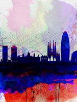 Barcelona Watercolor Skyline 2 Fine Art Print