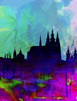 Prague Watercolor Skyline Fine Art Print