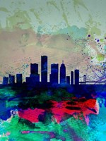 Detroit Watercolor Skyline Fine Art Print