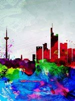 Frankfurt Watercolor Skyline Fine Art Print
