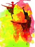 Two Red Ballerinas Watercolor Fine Art Print