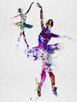 Two Dancing Ballerinas Watercolor 4 Fine Art Print