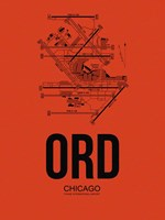 ORD Chicago Airport Orange Fine Art Print