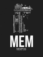 MEM Memphis Airport Black Fine Art Print