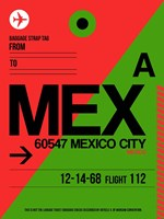 MEX Mexico City Luggage Tag 2 Fine Art Print