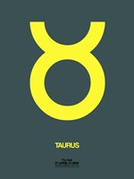 Taurus Zodiac Sign Yellow Framed Print
