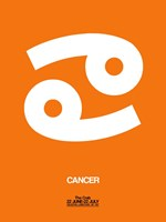 Cancer Zodiac Sign White on Orange Fine Art Print