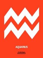 Aquarius Zodiac Sign White on Orange Fine Art Print