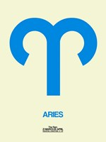 Aries Zodiac Sign Blue Fine Art Print